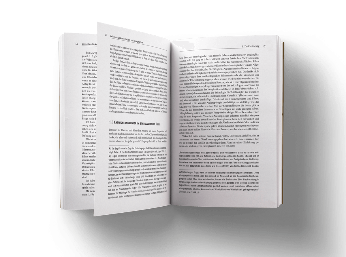 Buchgestaltung Referenz transcript Verlag aufgeschlagen