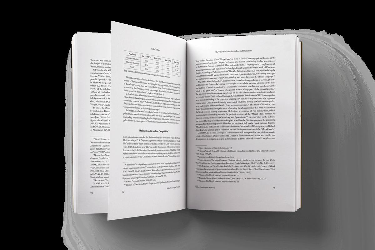 Buchgestaltung Südostforschungen Buchsatz aufgeschlagen