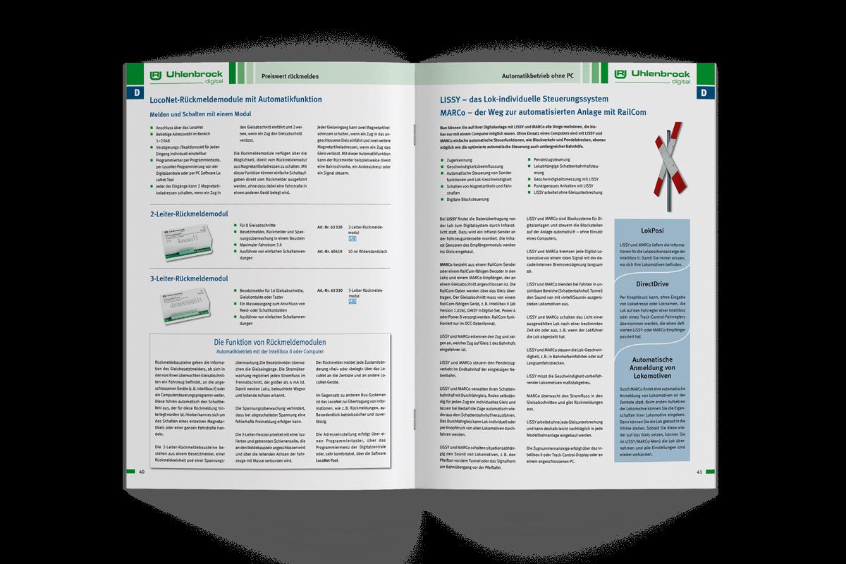 Grafikdesign Referenz Produktkatalog Uhlenbrock aufgeschlagen